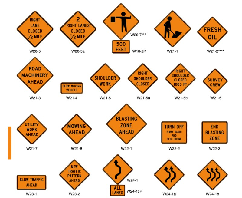 How Many Road Signs Are In The U.s What Color Are Highway Construction Signs