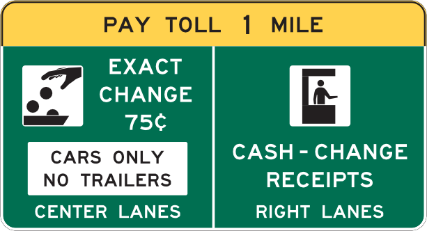 Toll sign
