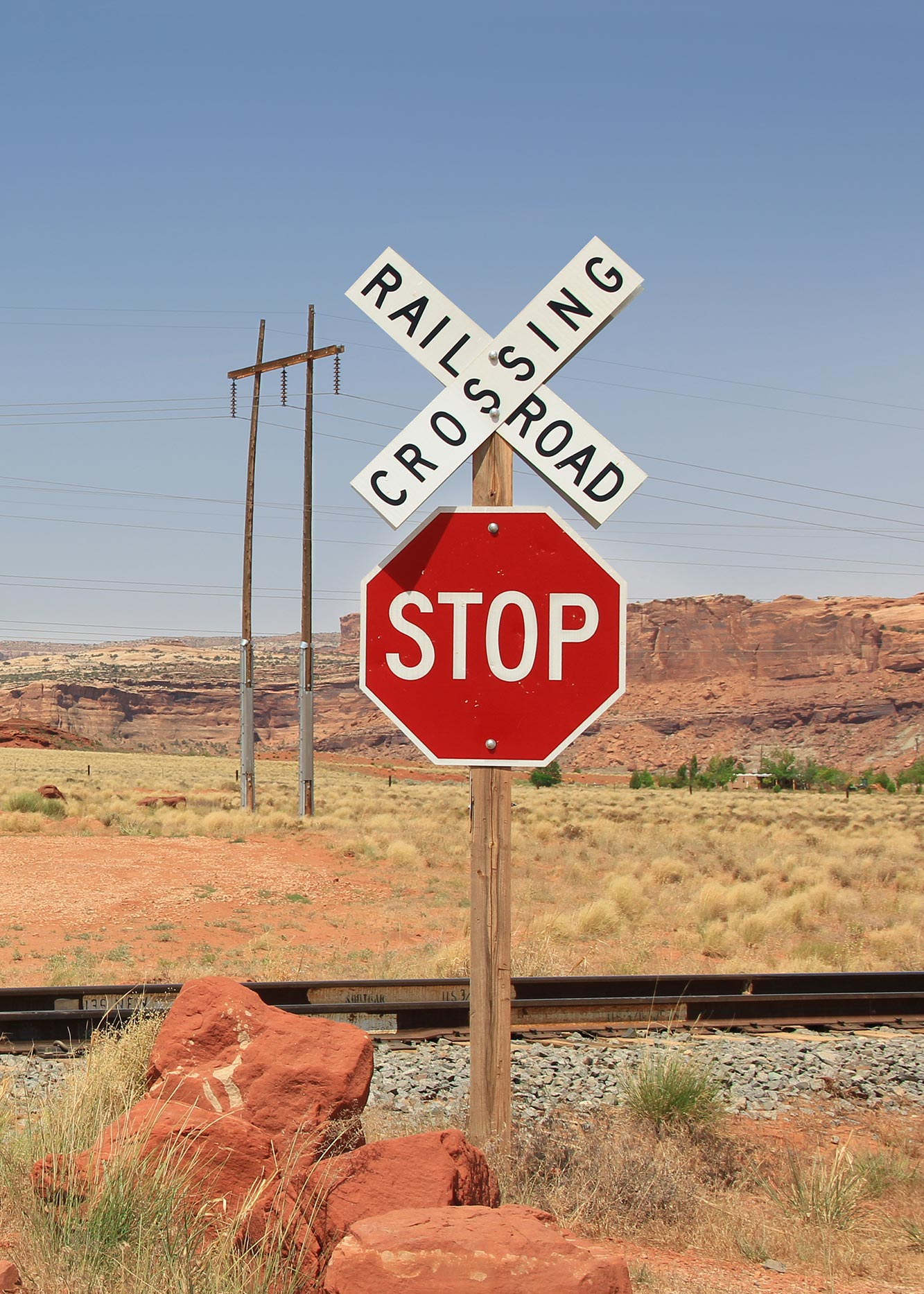 railroad sign in the desert